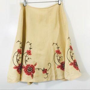 Ann Taylor Loft Floral Embroidered Boho Skirt